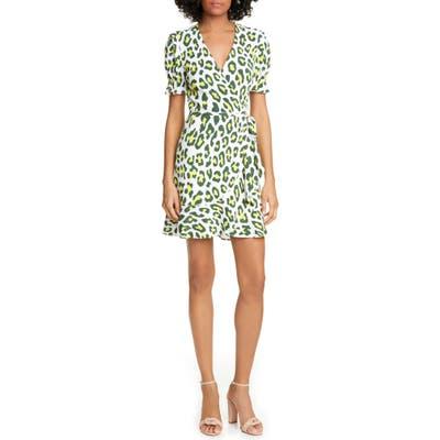 Dvf Emilia Floral Short Sleeve Wrap Dress, Yellow
