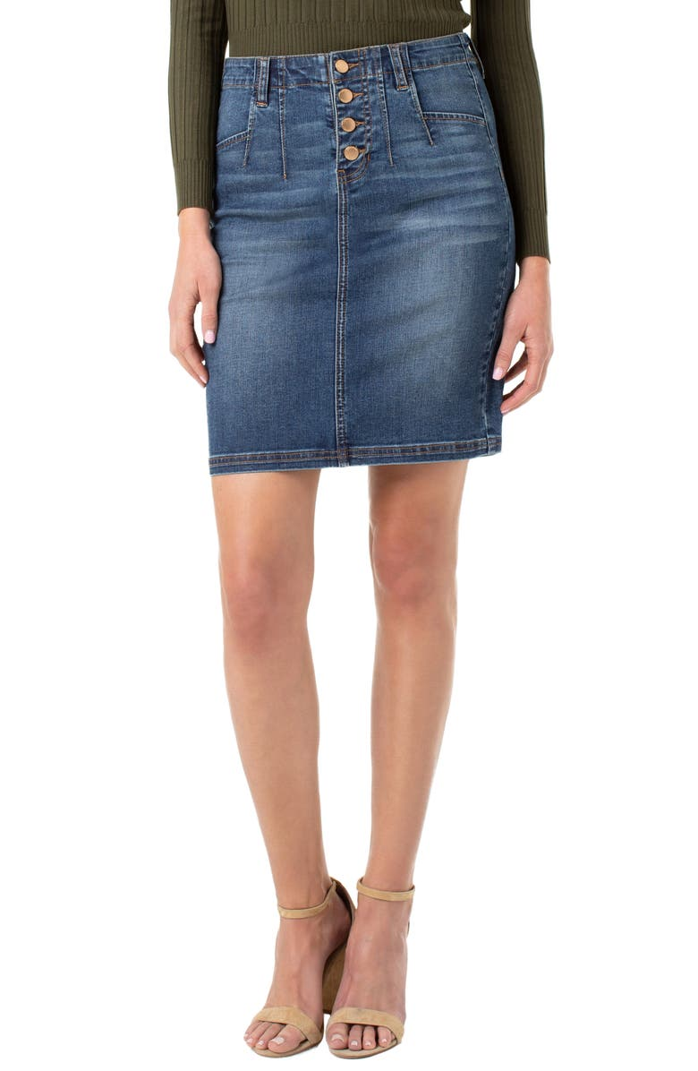 LIVERPOOL Darted Denim Skirt, Main, color, JEFFERSON