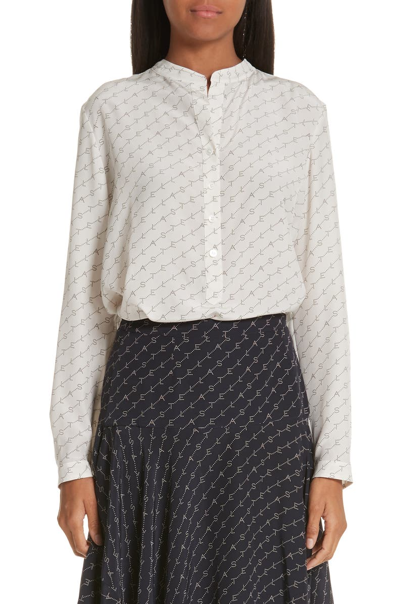 STELLA MCCARTNEY Eva Logo Print Silk Shirt, Main, color, 900