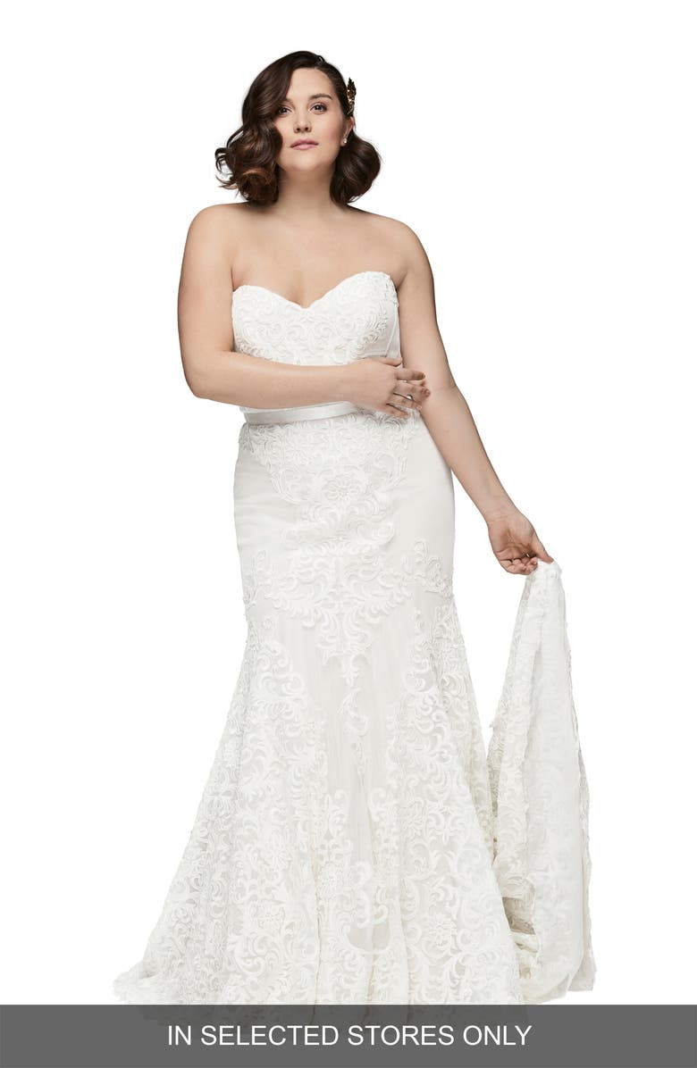 WATTERS Alice Embroidered Strapless Trumpet Gown, Main, color, IVORY/ IVORY/ GARDENIA