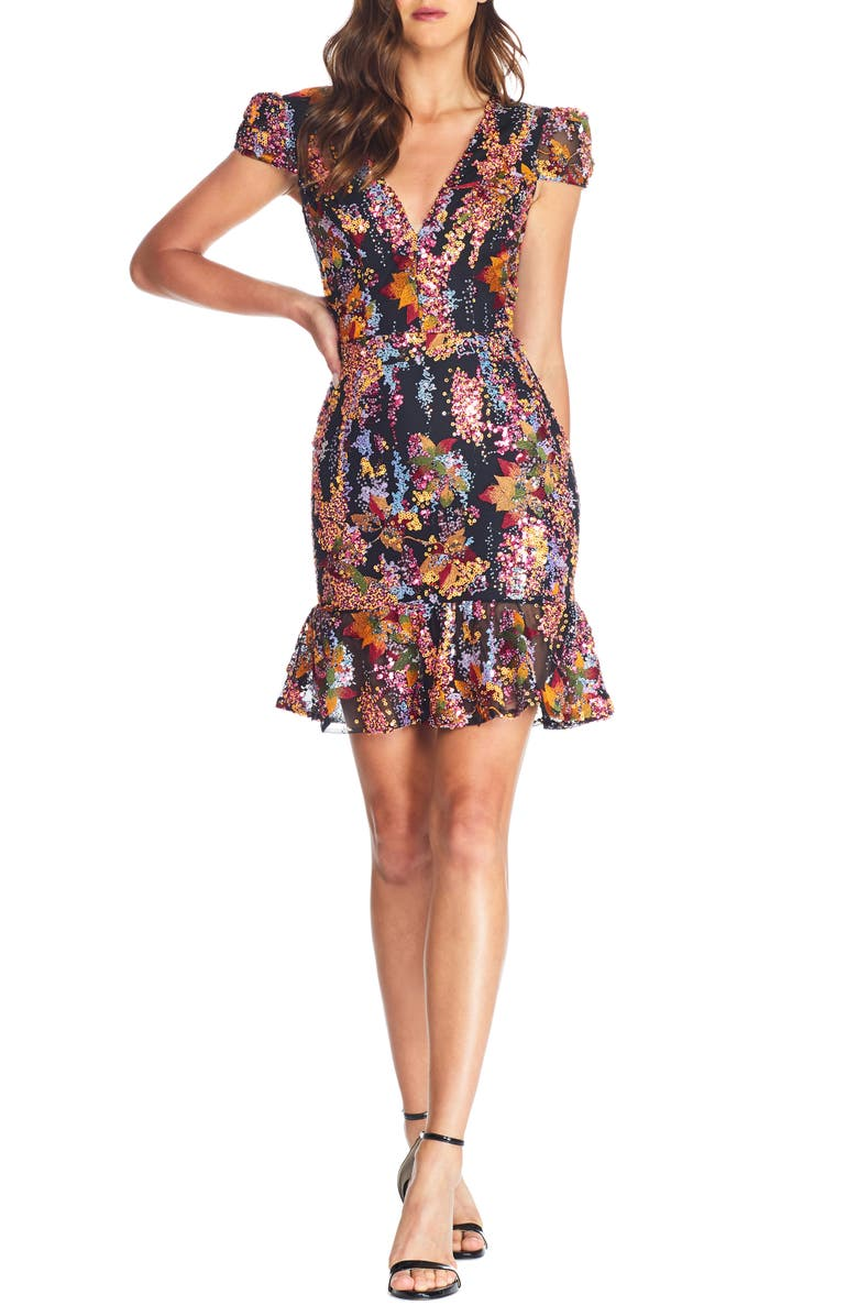 DRESS THE POPULATION Corinne Sequin Embellished Embroidered Dress, Main, color, PAPAYA MULTI