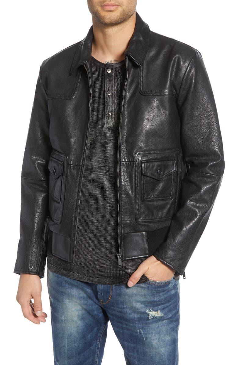 JOHN VARVATOS STAR USA Regular Fit Leather Jacket, Main, color, 001