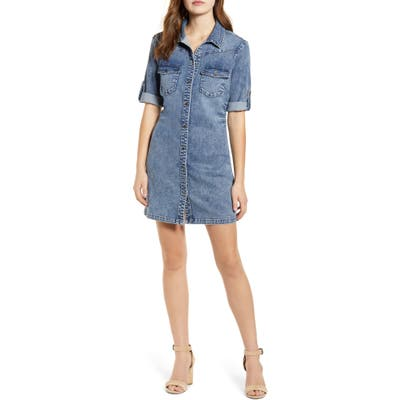 Wash Lab Jean Style Short Sleeve Shirtdress, Blue