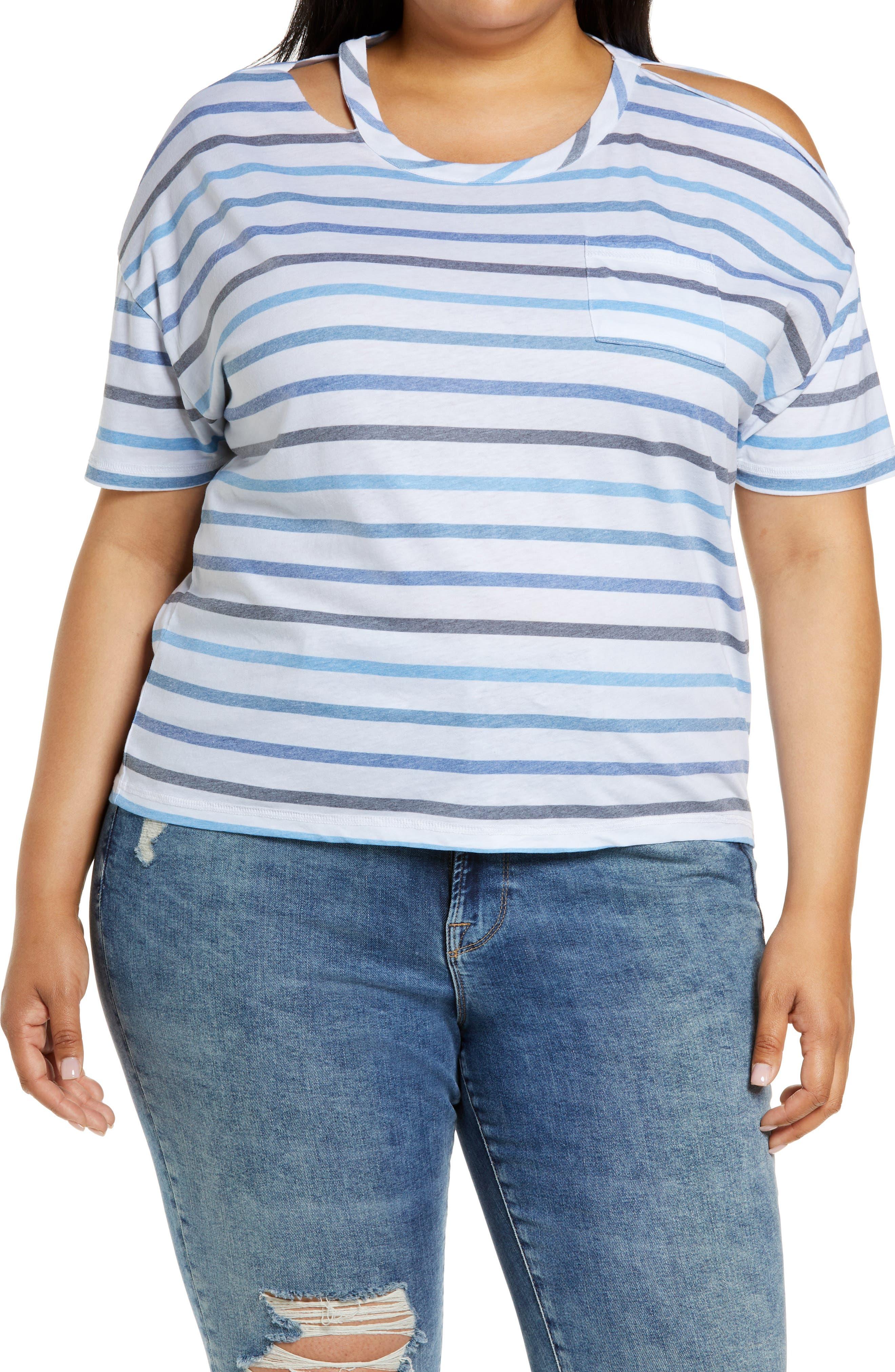 Stripe Cutout Jersey T-Shirt