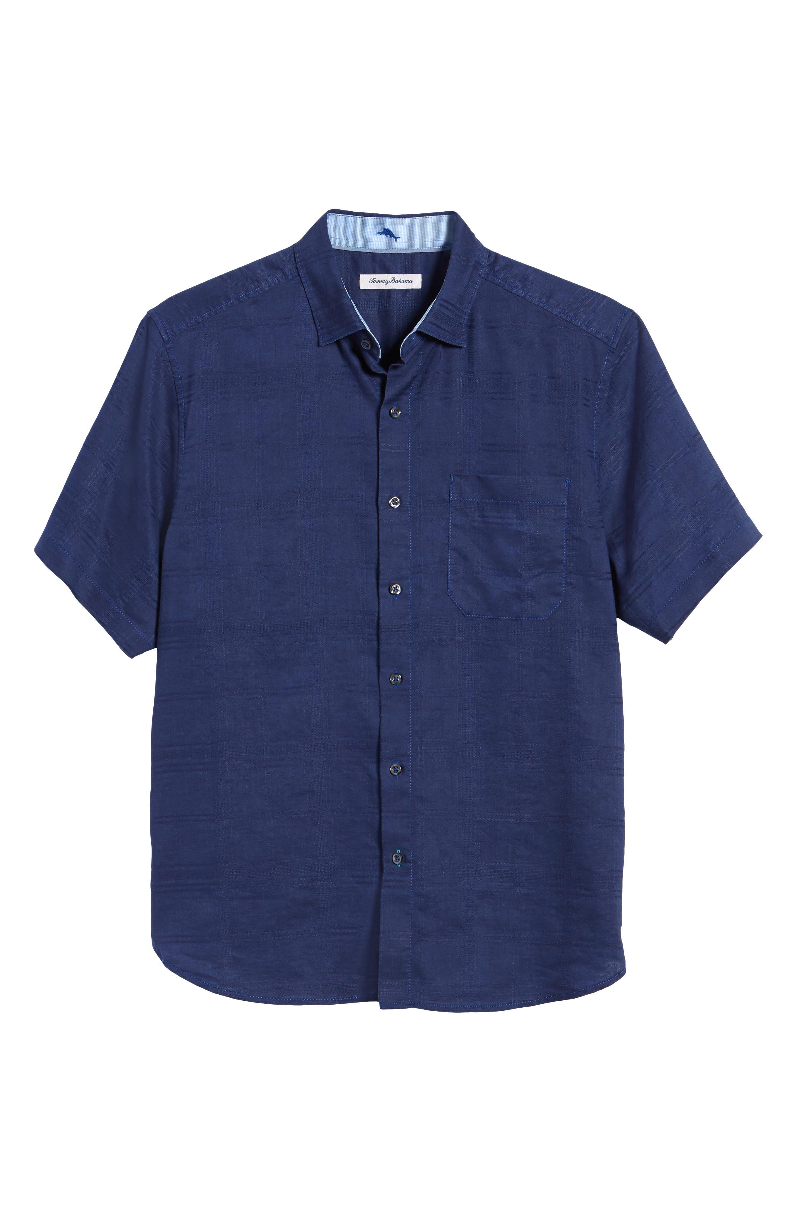 ,                             Costa Tautira Linen Blend Sport Shirt,                             Alternate thumbnail 5, color,                             THRONE BLUE