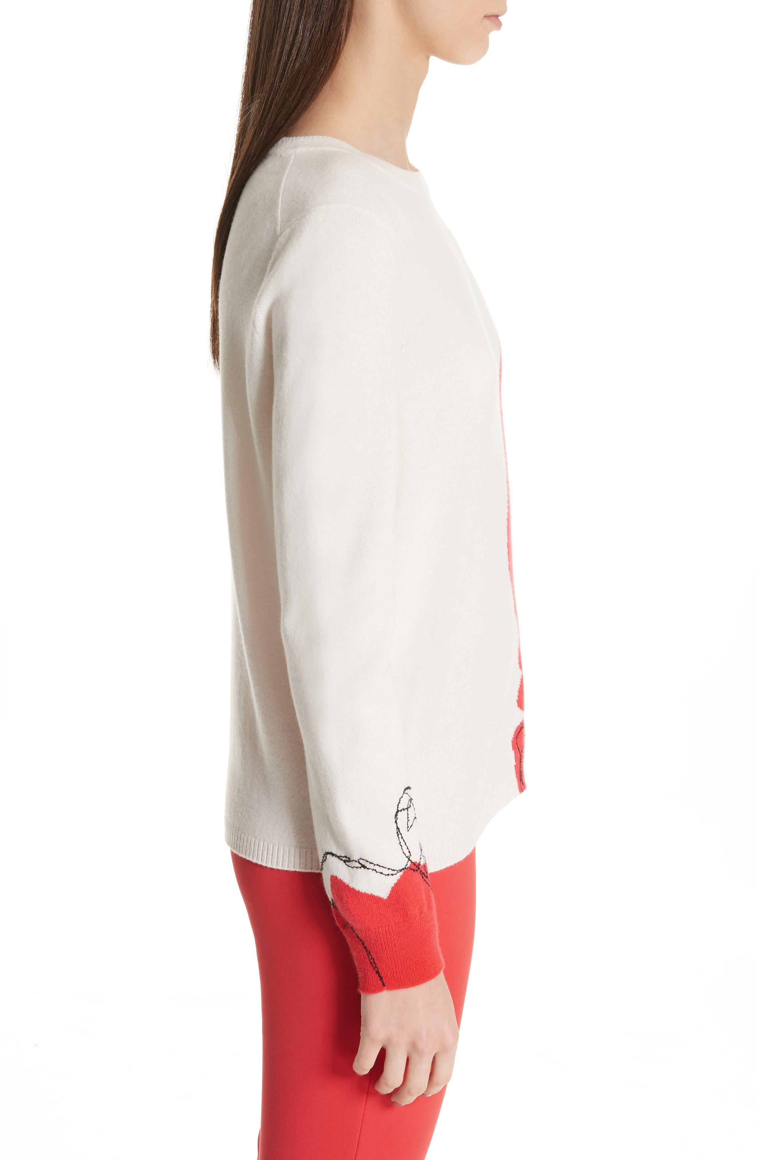 ,                             Intarsia Knit Cashmere Jersey Sweater,                             Alternate thumbnail 4, color,                             CREAM/ CRIMSON