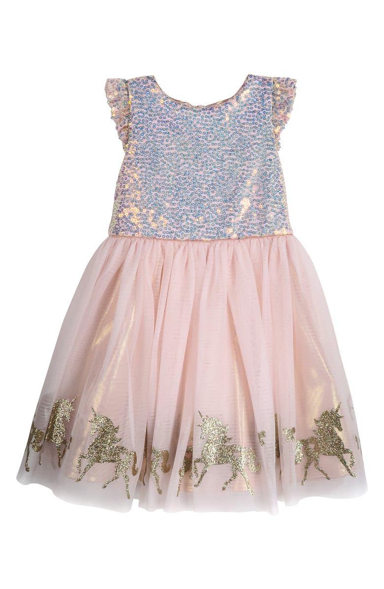 ZUNIE Kids' Sequin Bodice Unicorn Dress, Main, color, BLUSH/ GOLD