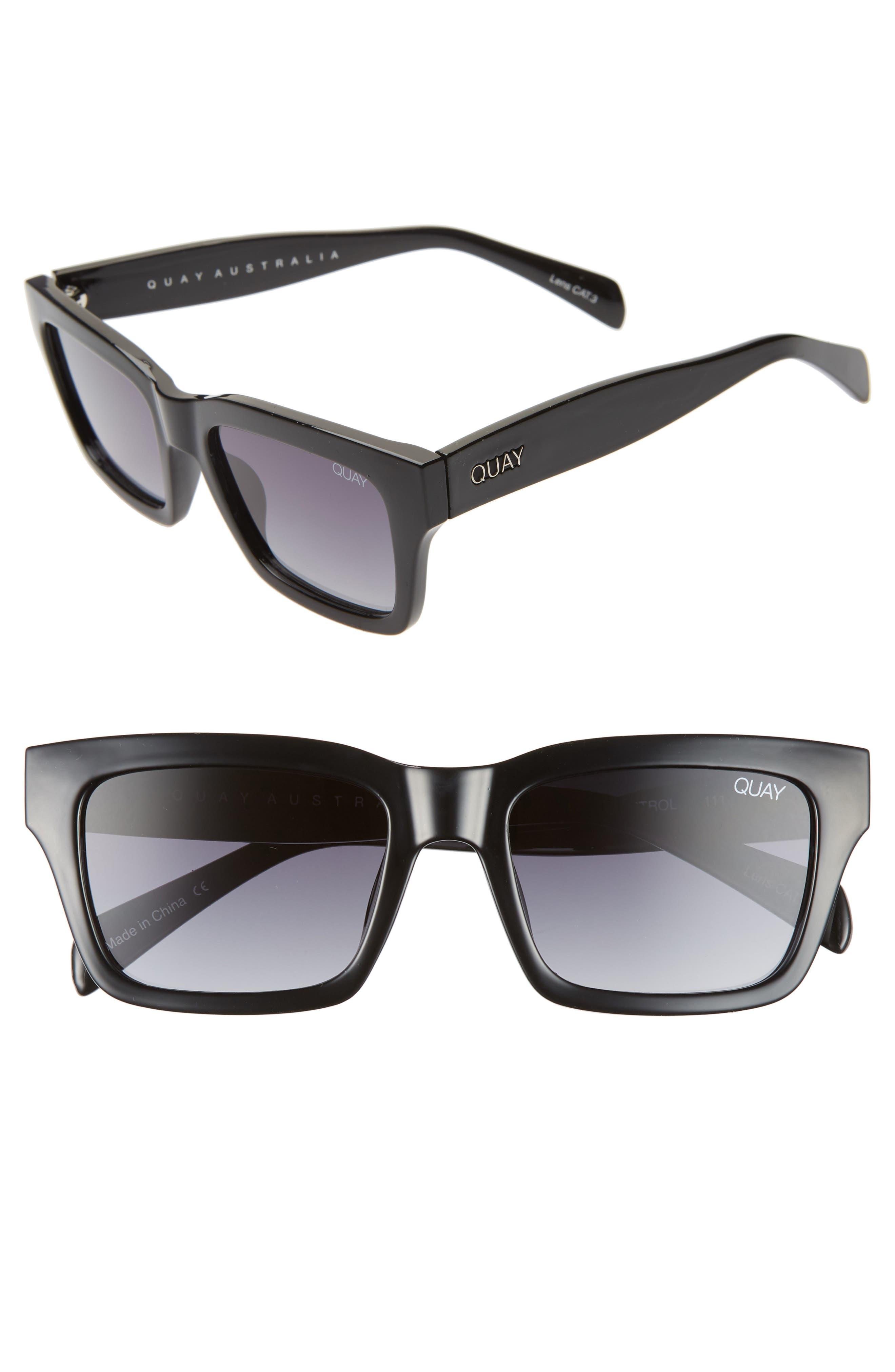 Quay Australia In Control 4m Rectangle Sunglasses - Black/ Smoke