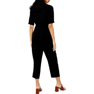 Petite Topshop Utility Buckle Jumpsuit, P US (fits like 0-2P) - Black