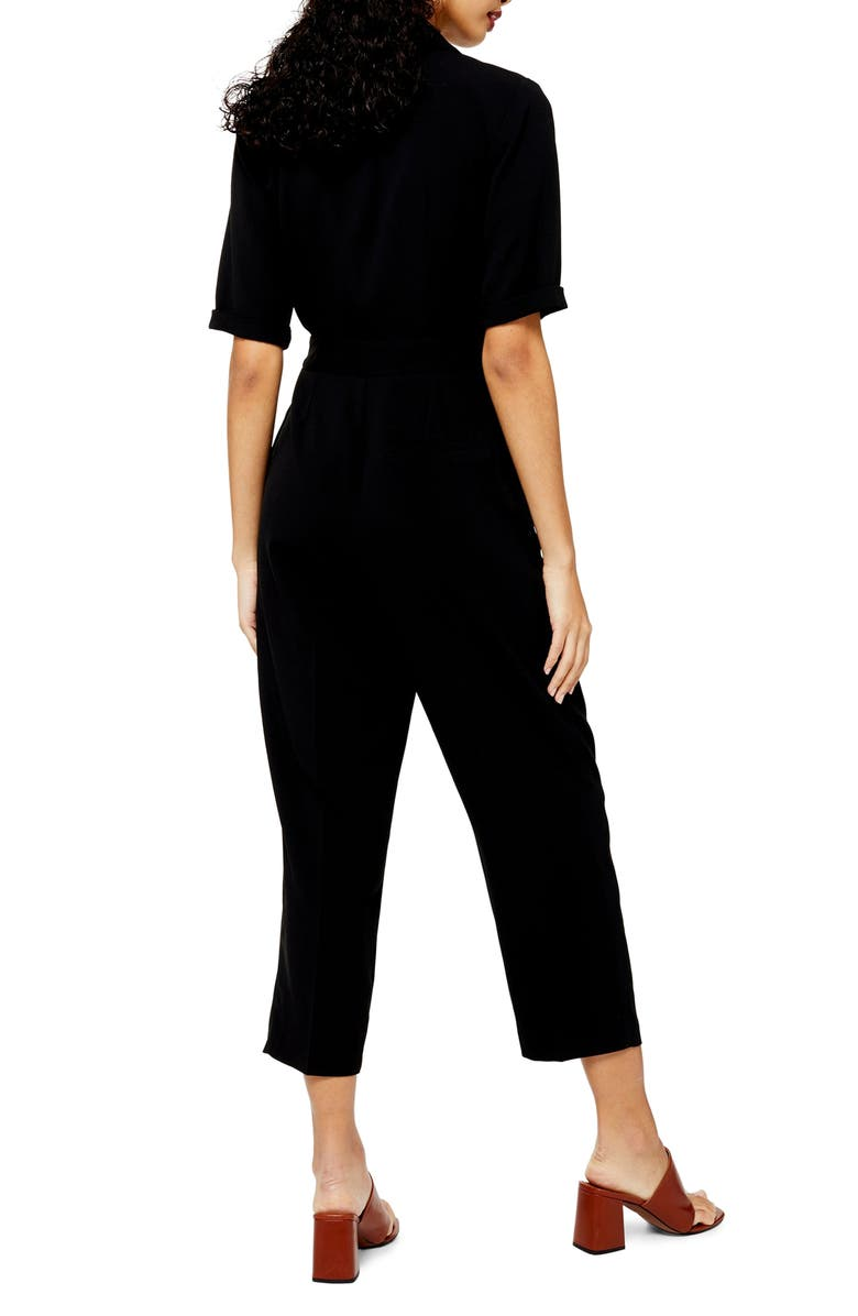 TOPSHOP Utility Buckle Jumpsuit, Main, color, BLACK