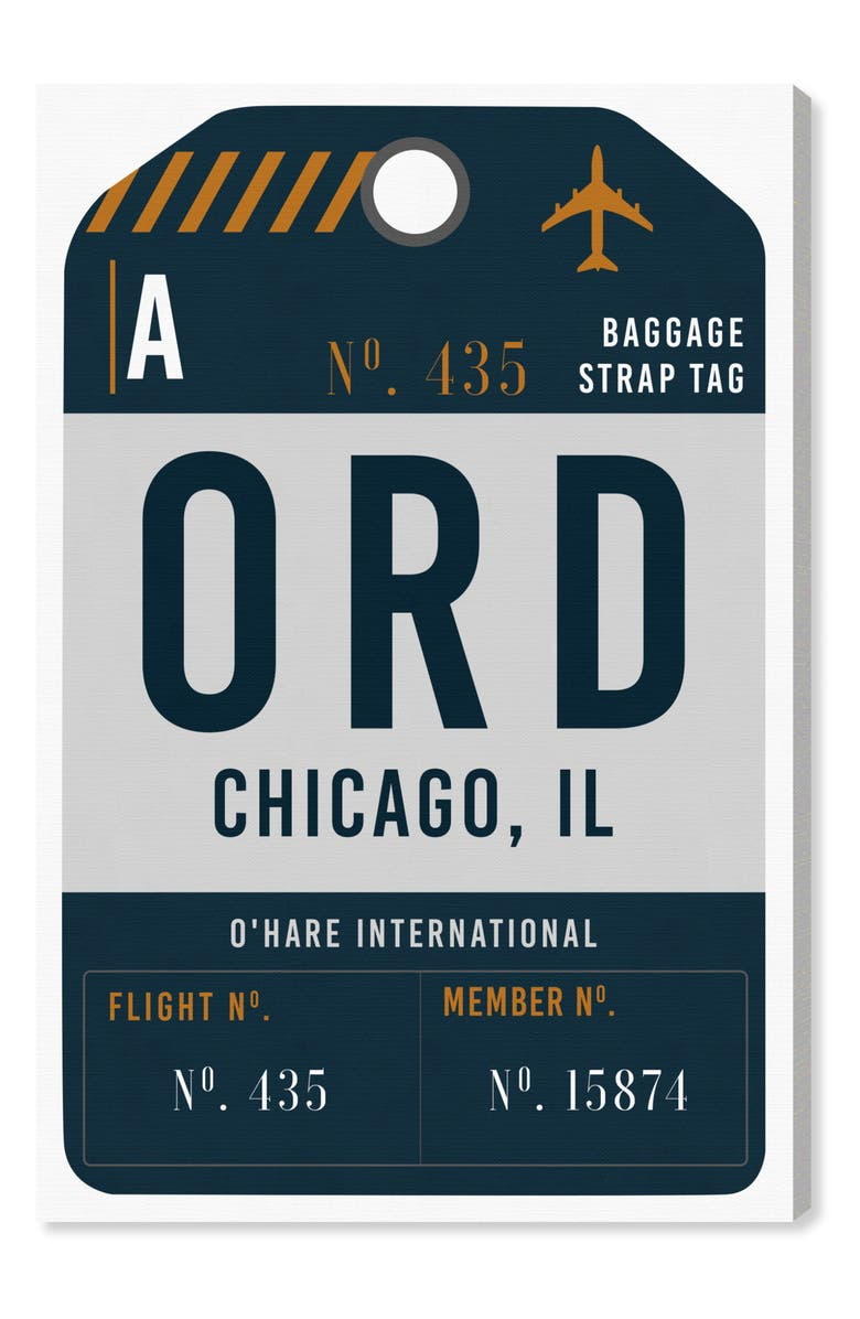 OLIVER GAL Chicago Luggage Tag Wall Art, Main, color, GRAY