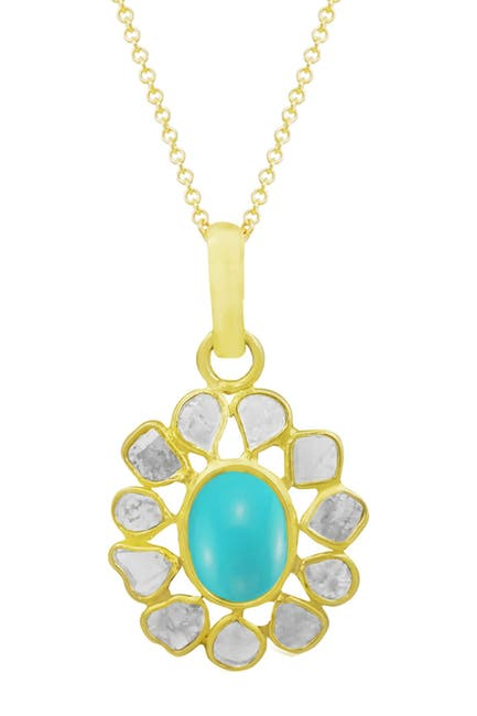 Image of Savvy Cie 18K Gold Vermeil Sterling Silver Turquoise & Diamond Pendant Necklace
