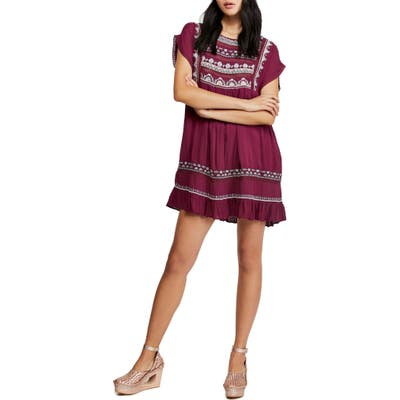 Free People Sunrise Wanderer Minidress, Burgundy