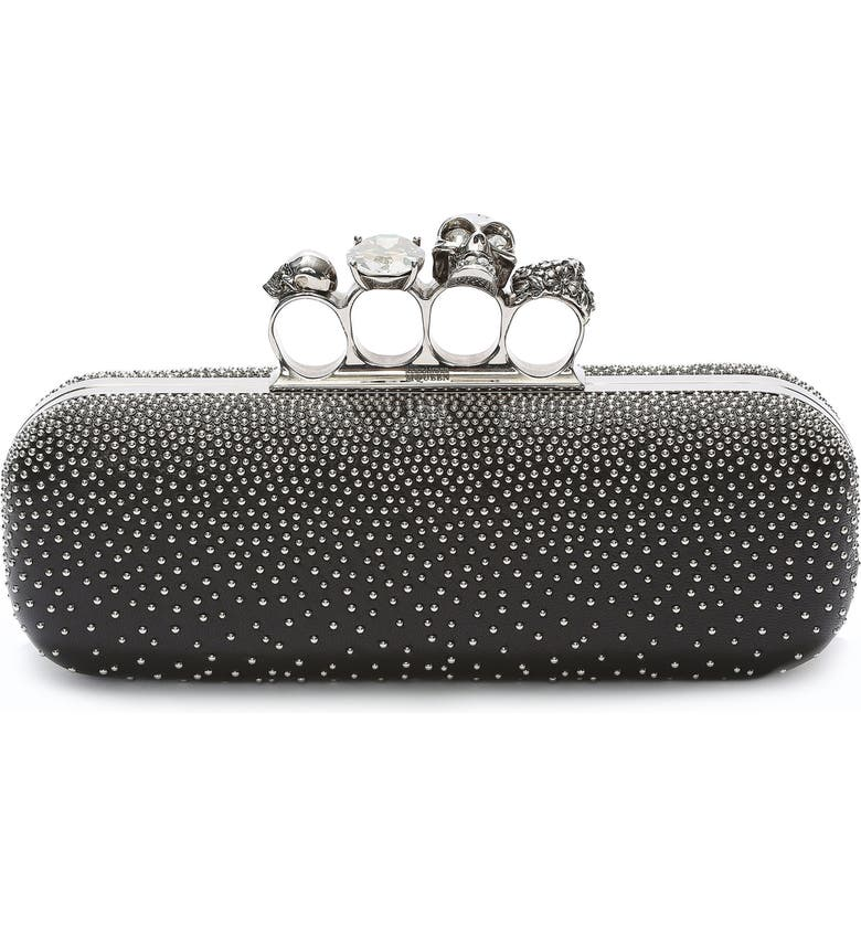 ALEXANDER MCQUEEN Studded Lambskin Leather Knuckle Clutch, Main, color, 001