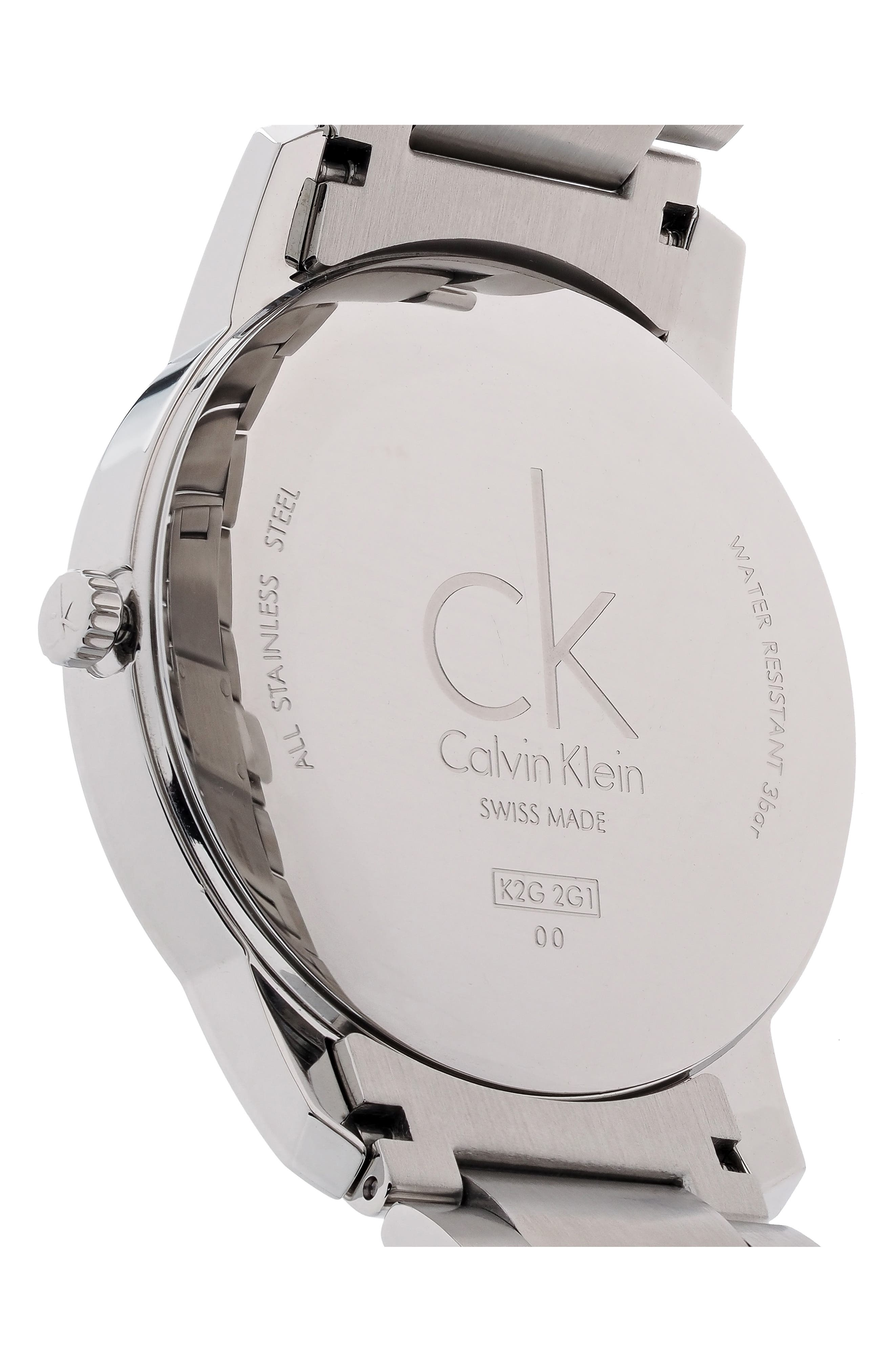 ,                             City Bracelet Watch, 43mm,                             Alternate thumbnail 2, color,                             SILVER/ BLACK/ SILVER