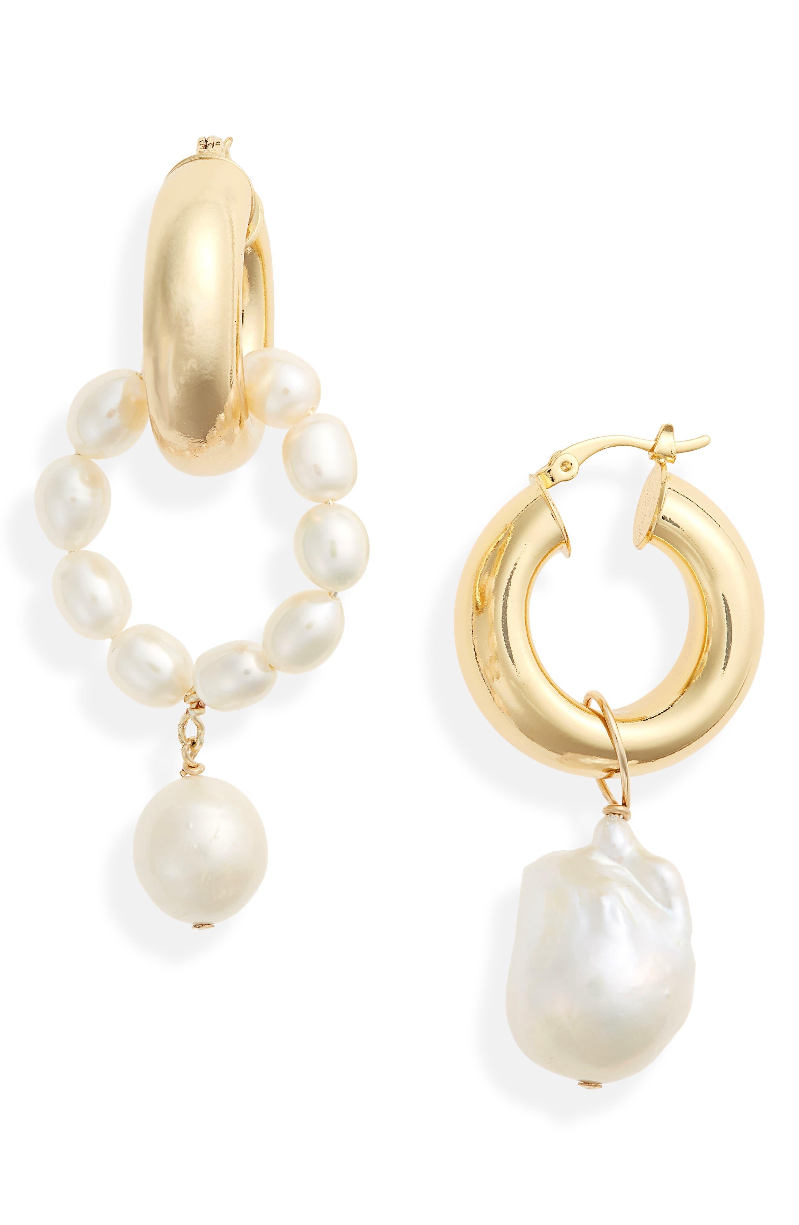 Women's Eliou Ios & Rho Genuine Pearl Mismatched Earrings