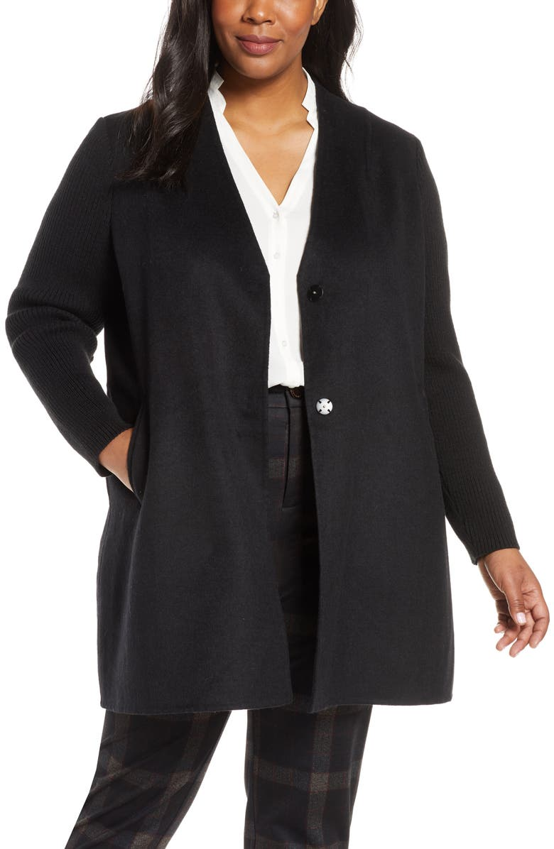 KENNETH COLE NEW YORK Knit Sleeve Wool Blend Coat, Main, color, 001
