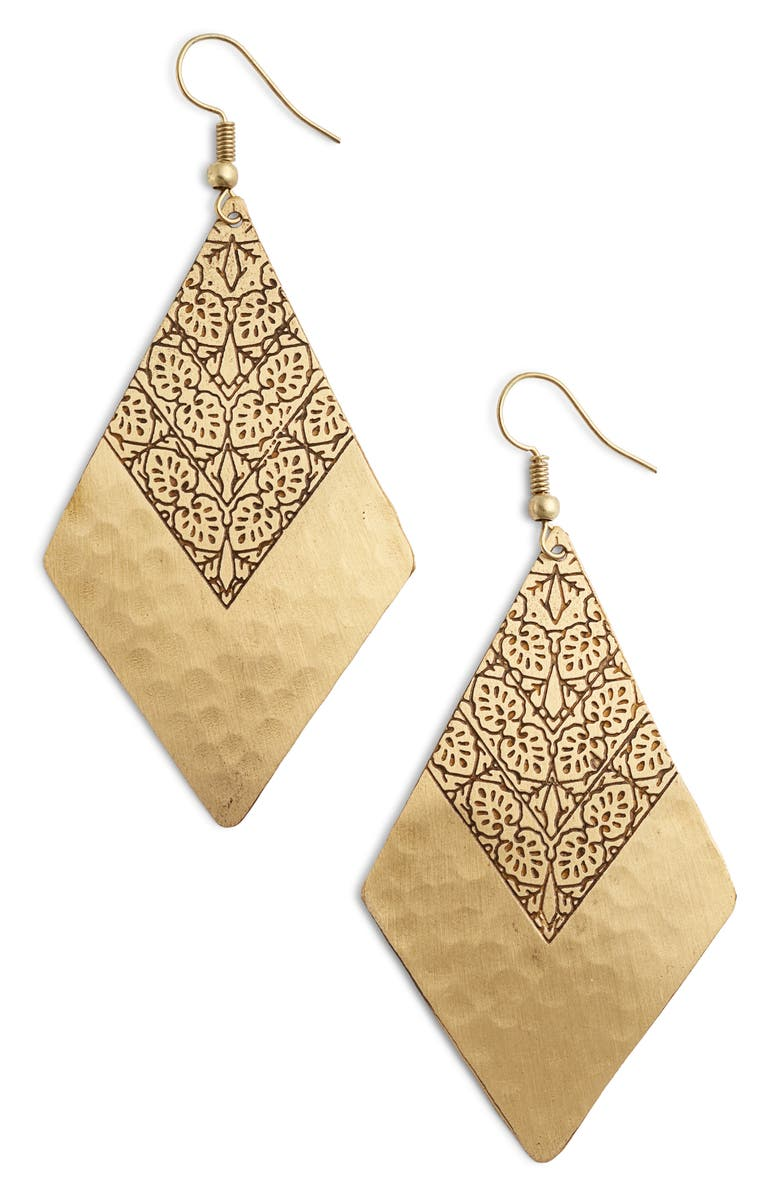 TEN79LA Geometric Drop Earrings, Main, color, GOLD