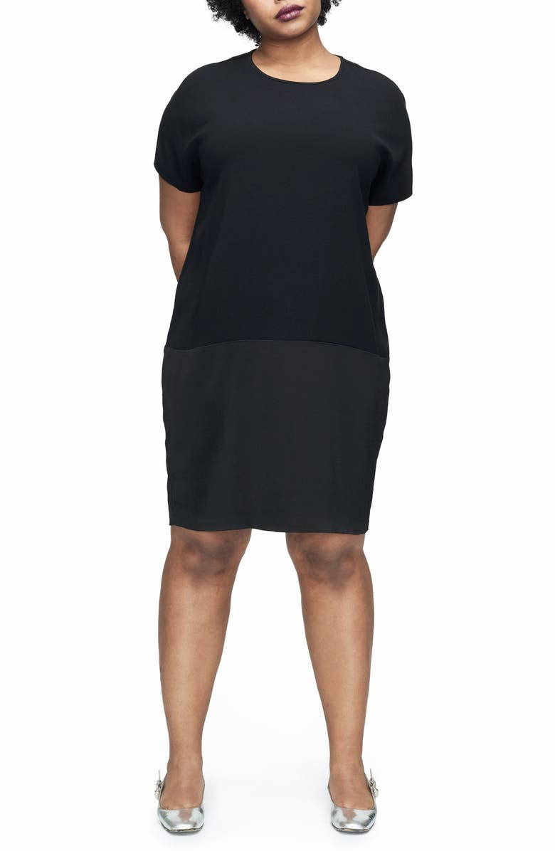 UNIVERSAL STANDARD Avenir Drop Waist Dress, Main, color, BLACK