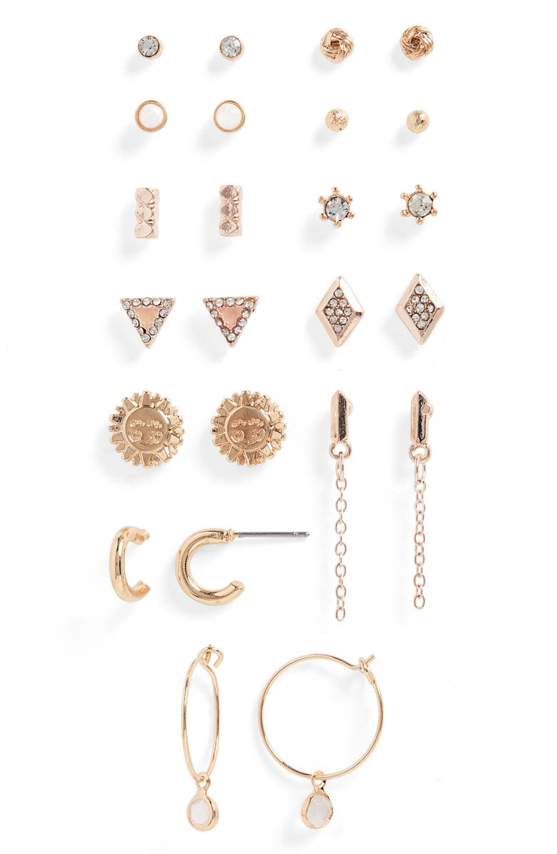 BP. Set of 12 Earrings, Main, color, CLEAR- GOLD