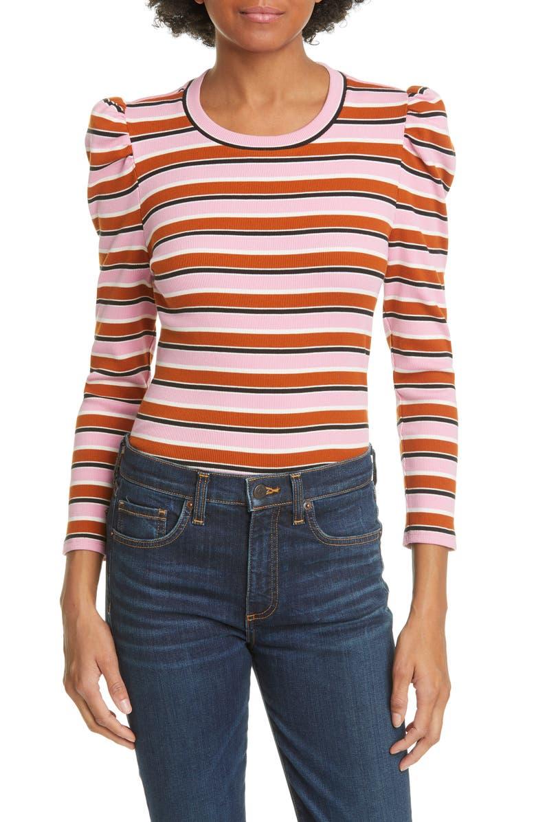 VERONICA BEARD Britney Puff Shoulder Stripe Top, Main, color, 690