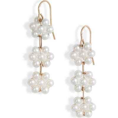 Poppy Finch Triple Pearl Flower Drop Earrings
