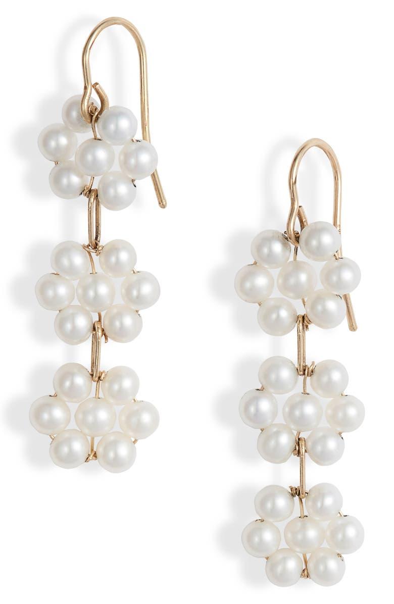 POPPY FINCH Triple Pearl Flower Drop Earrings, Main, color, YELLOW GOLD/ PEARL
