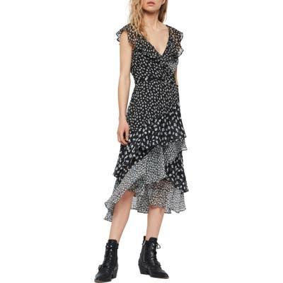 Allsaints Kari Scatter Print Ruffle Wrap Dress, Black