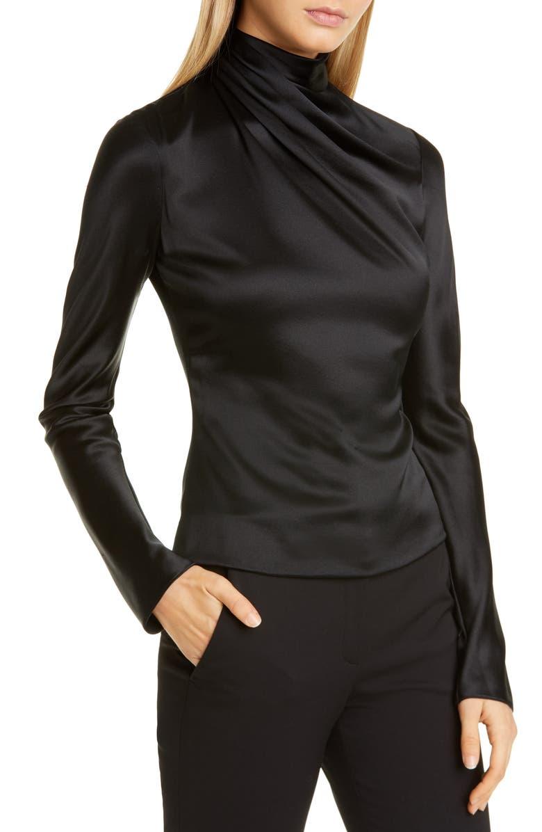 BRANDON MAXWELL Drape High Neck Long Sleeve Silk Blouse, Main, color, BLACK