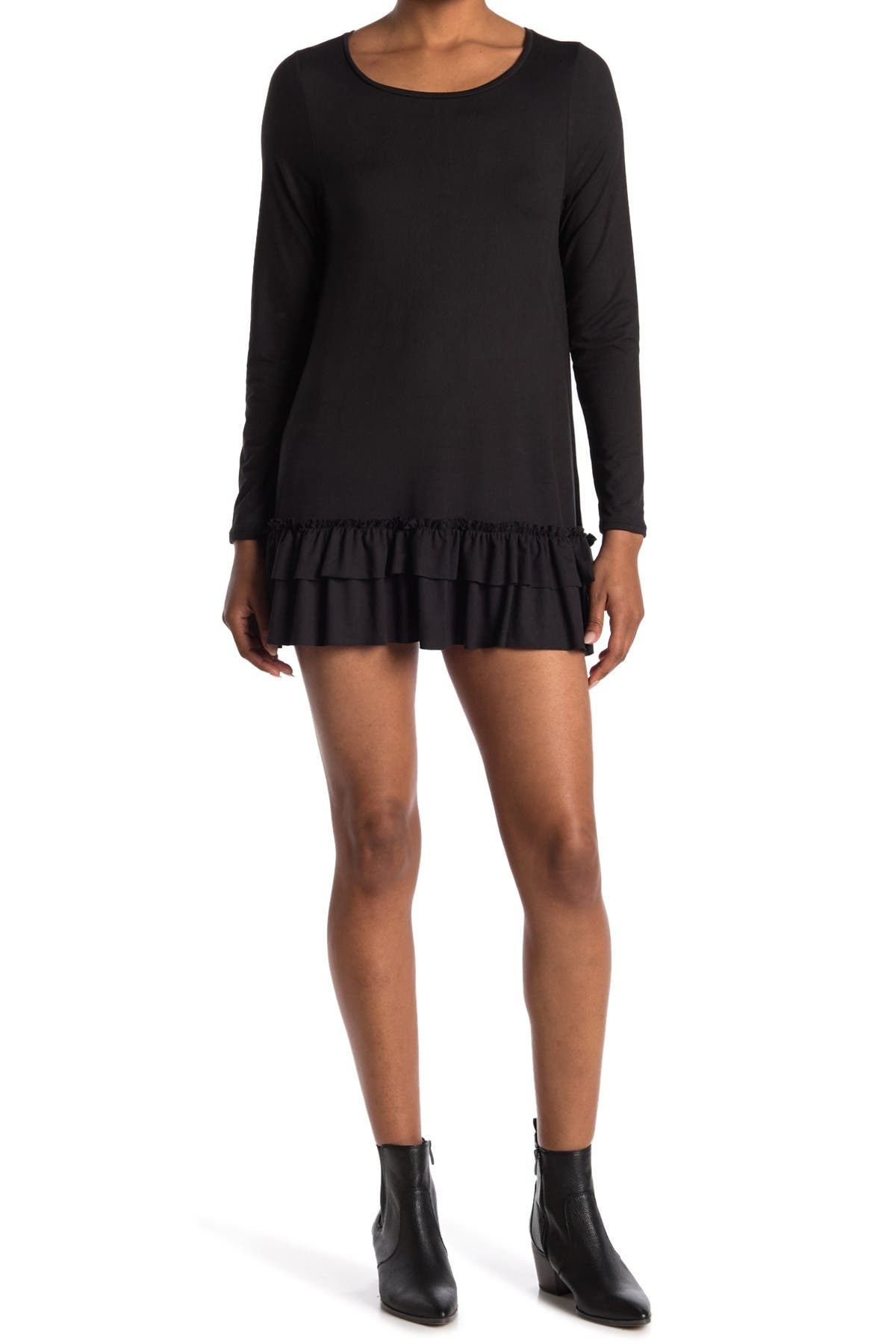 Image of Velvet Torch Long Sleeve Ruffle Knit Tunic
