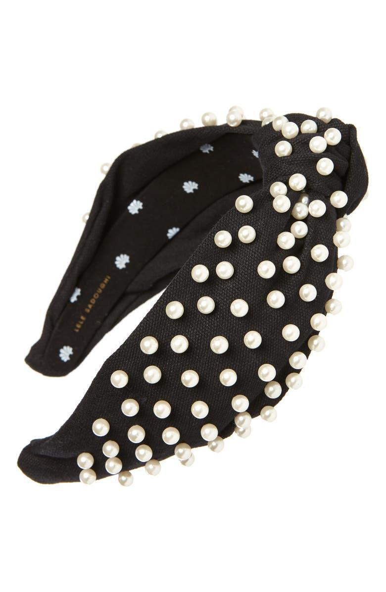 LELE SADOUGHI Imitation Pearl Headband, Main, color, JET