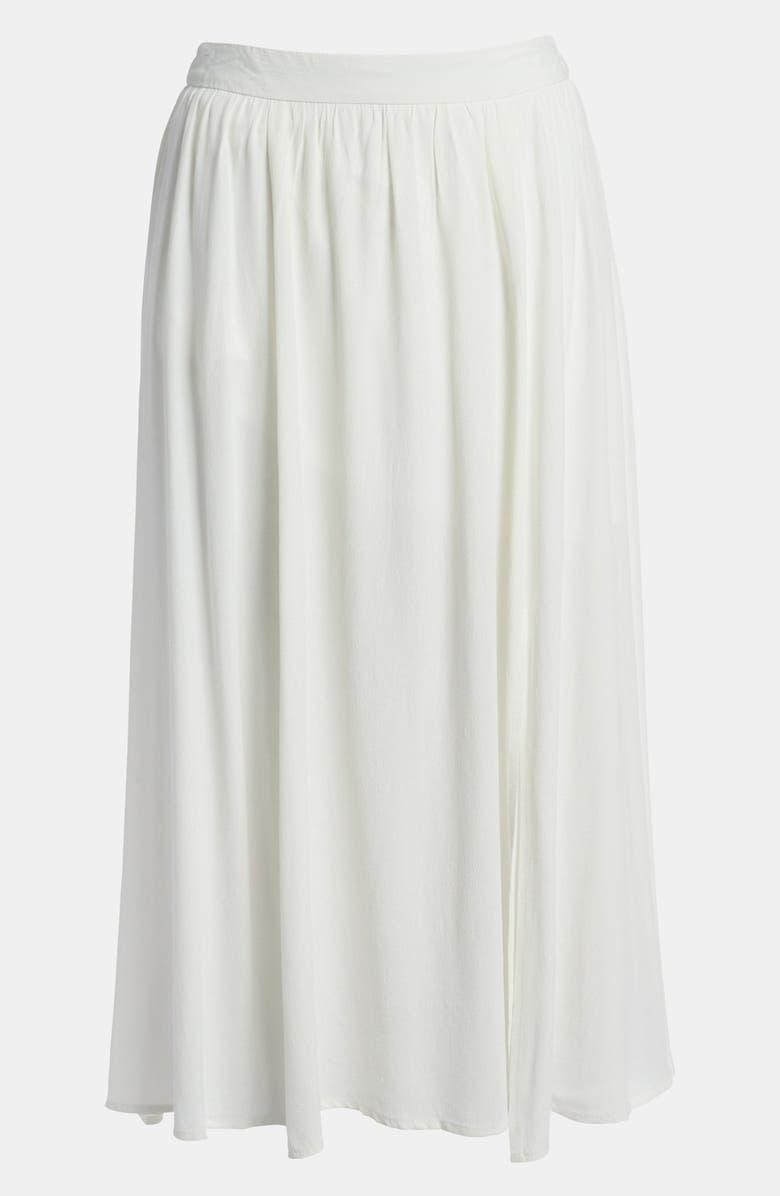 ASTR THE LABEL ASTR Slit Front Silk Blend Midi Skirt, Main, color, 900
