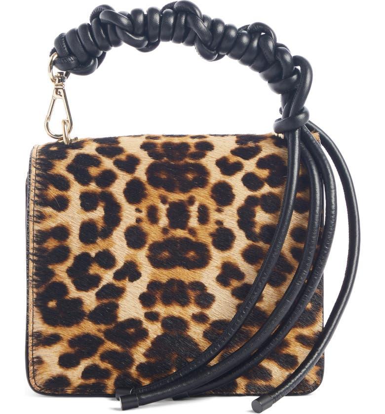 DRIES VAN NOTEN Small Knot Leopard Genuine Calf Hair Crossbody Bag, Main, color, CAMEL