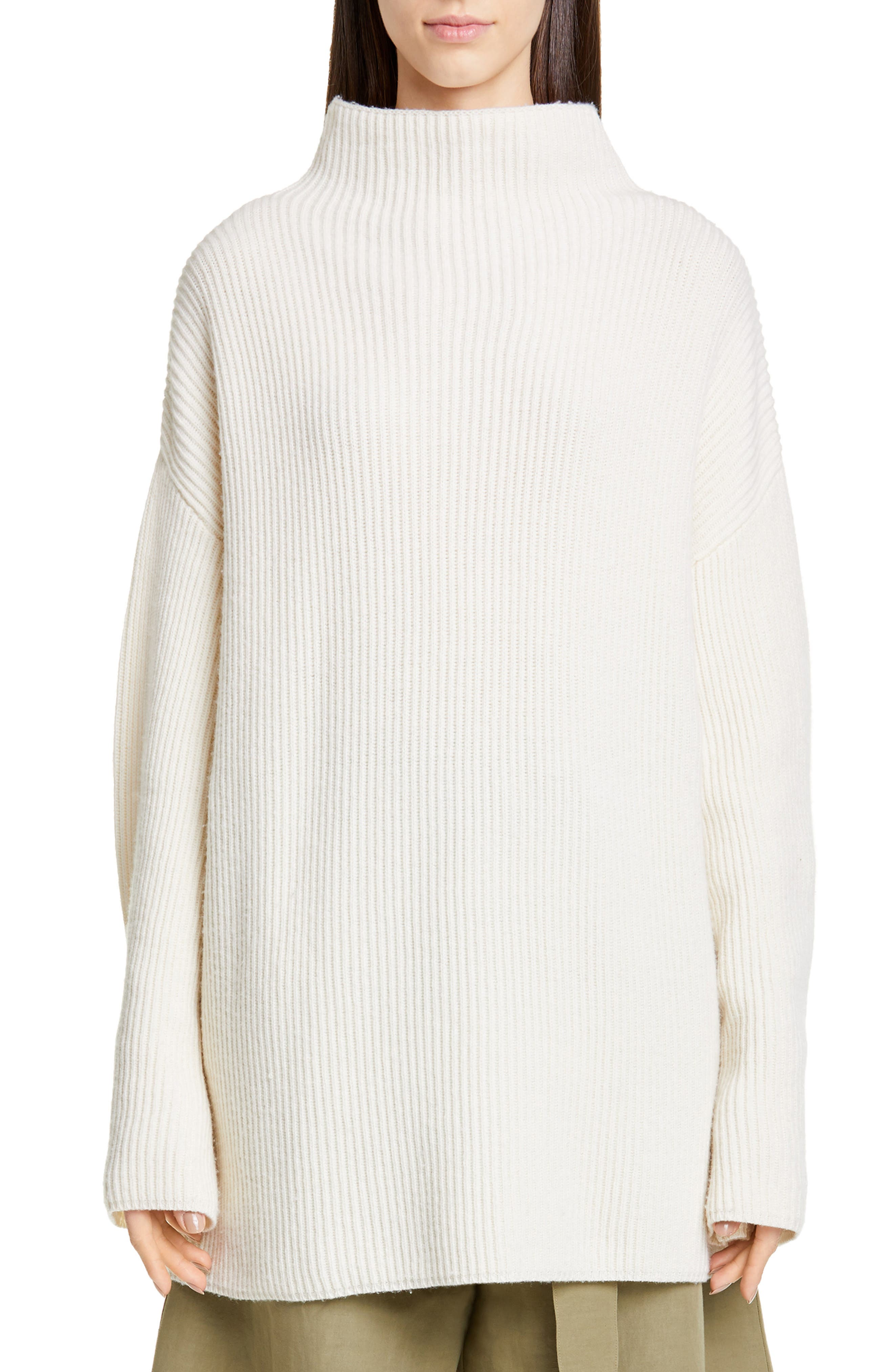Co Button Cuff Wool & Cashmere Sweater, Ivory