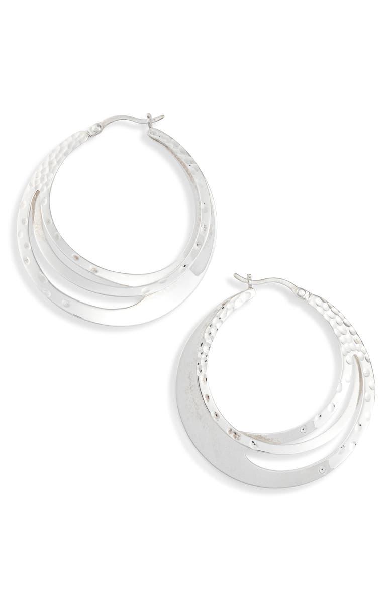 KAREN LONDON Sculpted Hoop Earrings, Main, color, SILVER