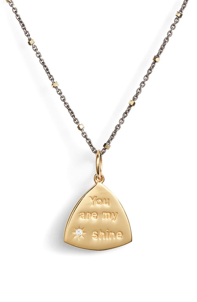 ELA RAE You Are My Sunshine Pendant Necklace, Main, color, GOLD/ BLACK