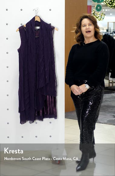 Flyaway Sleeveless Charmeuse Dress with Shawl, sales video thumbnail