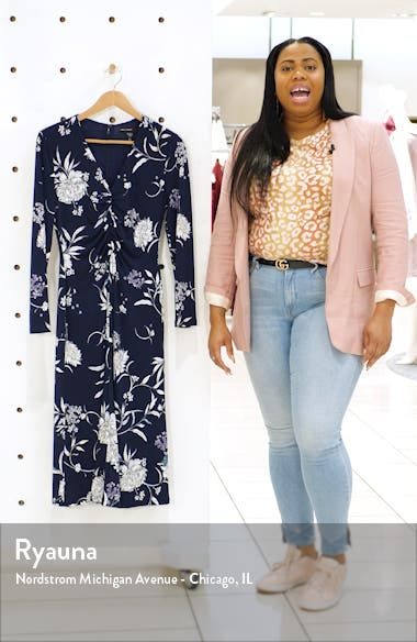 Long Sleeve Floral Ruched Jersey Midi Dress, sales video thumbnail