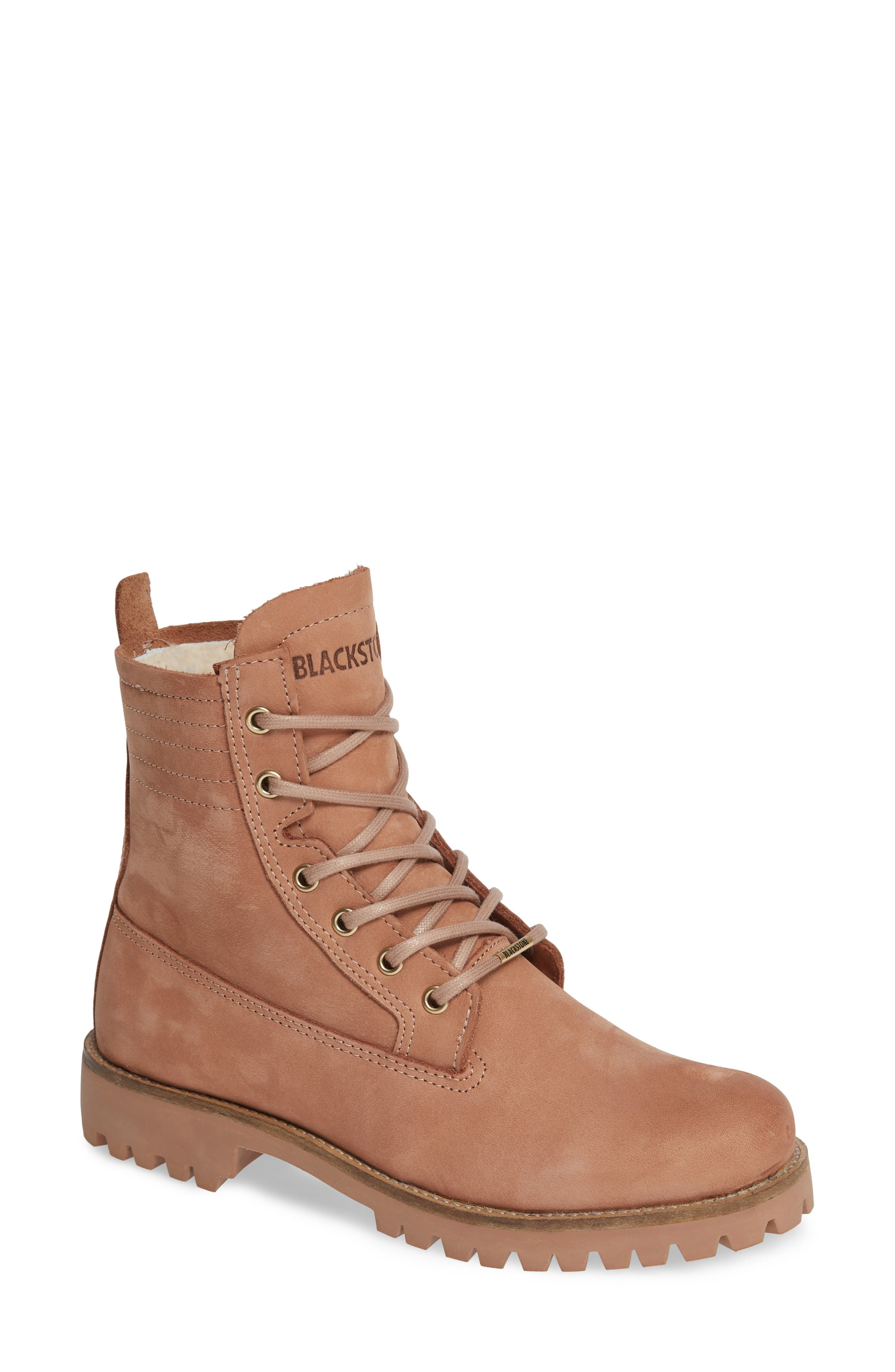 Blackstone Ol22 Lace-Up Boot With Genuine Shearling Lining Beige
