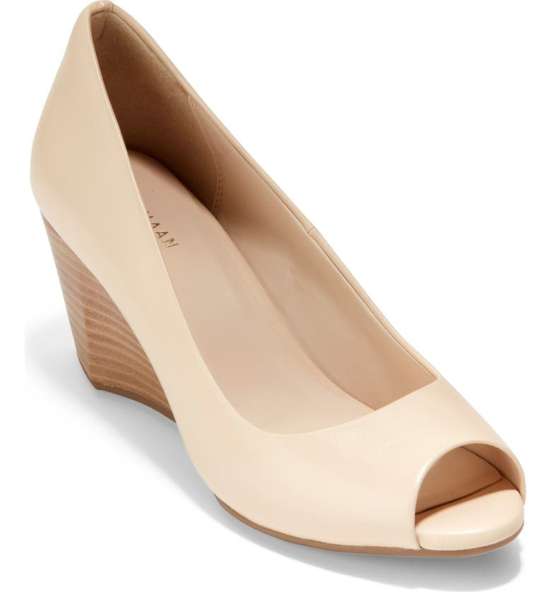 COLE HAAN Sadie Open Toe Pump, Main, color, SAND LEATHER