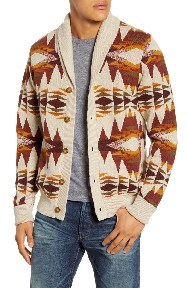 PENDLETON Easy Rider Shawl Cardigan Sweater, Main, color, MULTI TAN