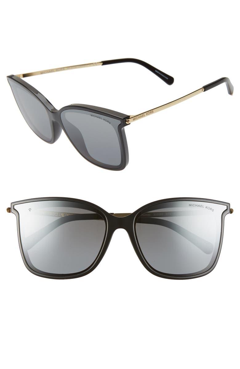 MICHAEL KORS 61mm Polarized Cat Eye Sunglasses, Main, color, 001