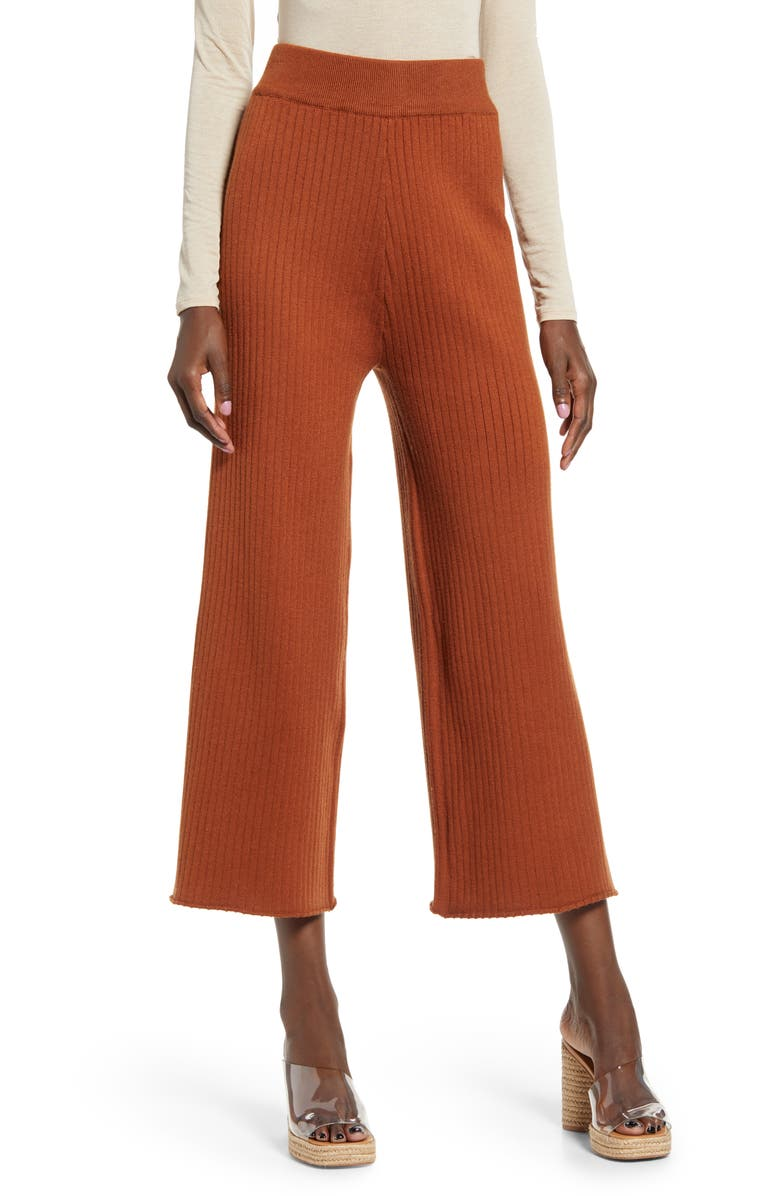 ENGLISH FACTORY Ribbed Knit Crop Wide Leg Pants, Main, color, BROWN