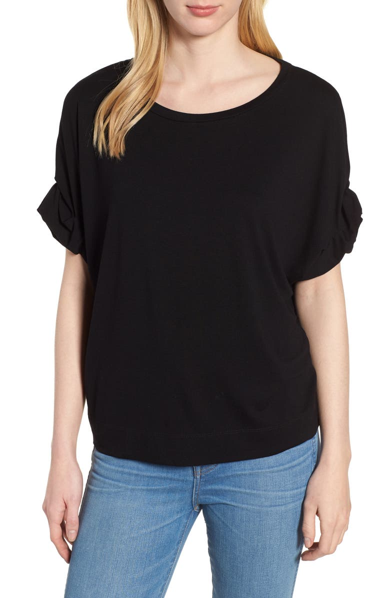 HABITUAL Harper Roll Cuff Tee, Main, color, BLACK