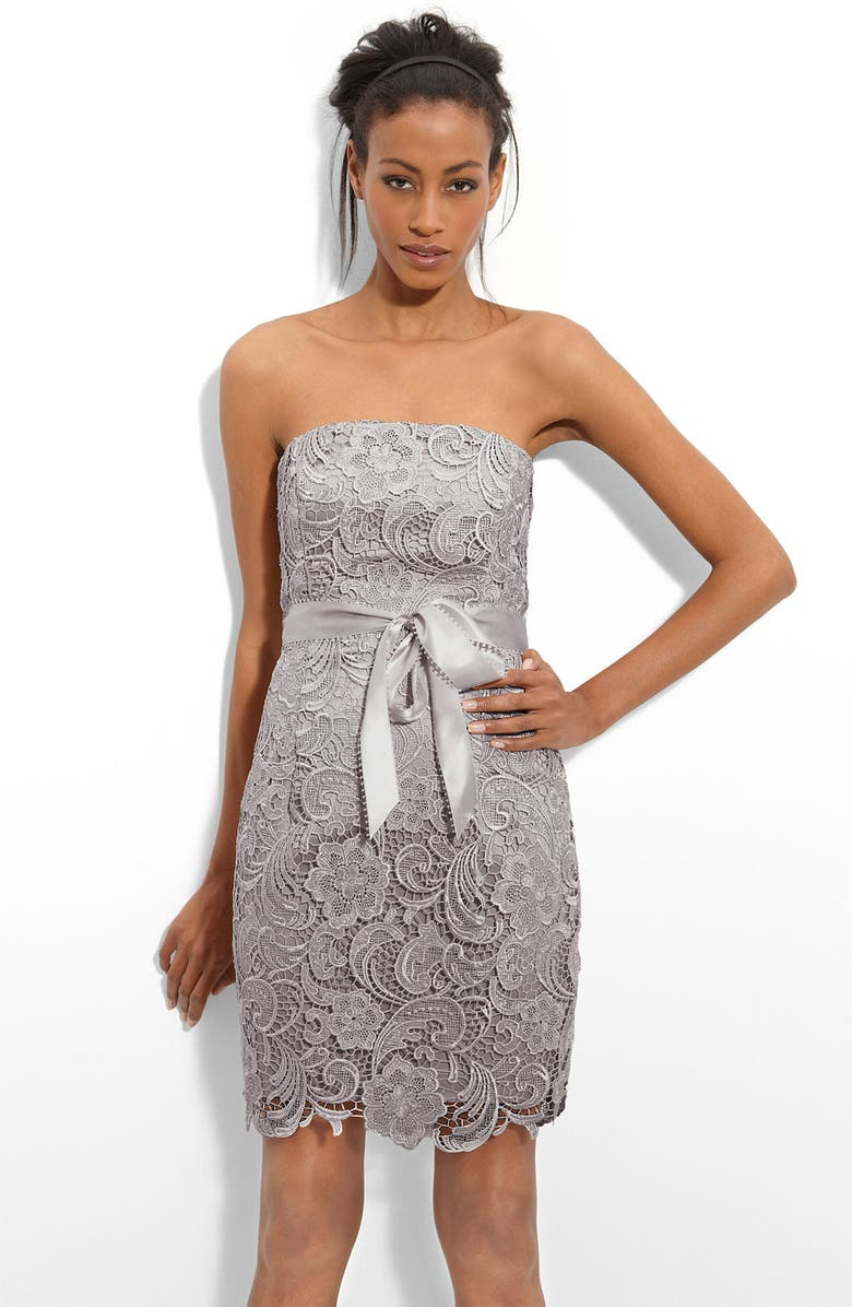 ADRIANNA PAPELL Strapless Lace Sheath Dress, Main, color, SILVER