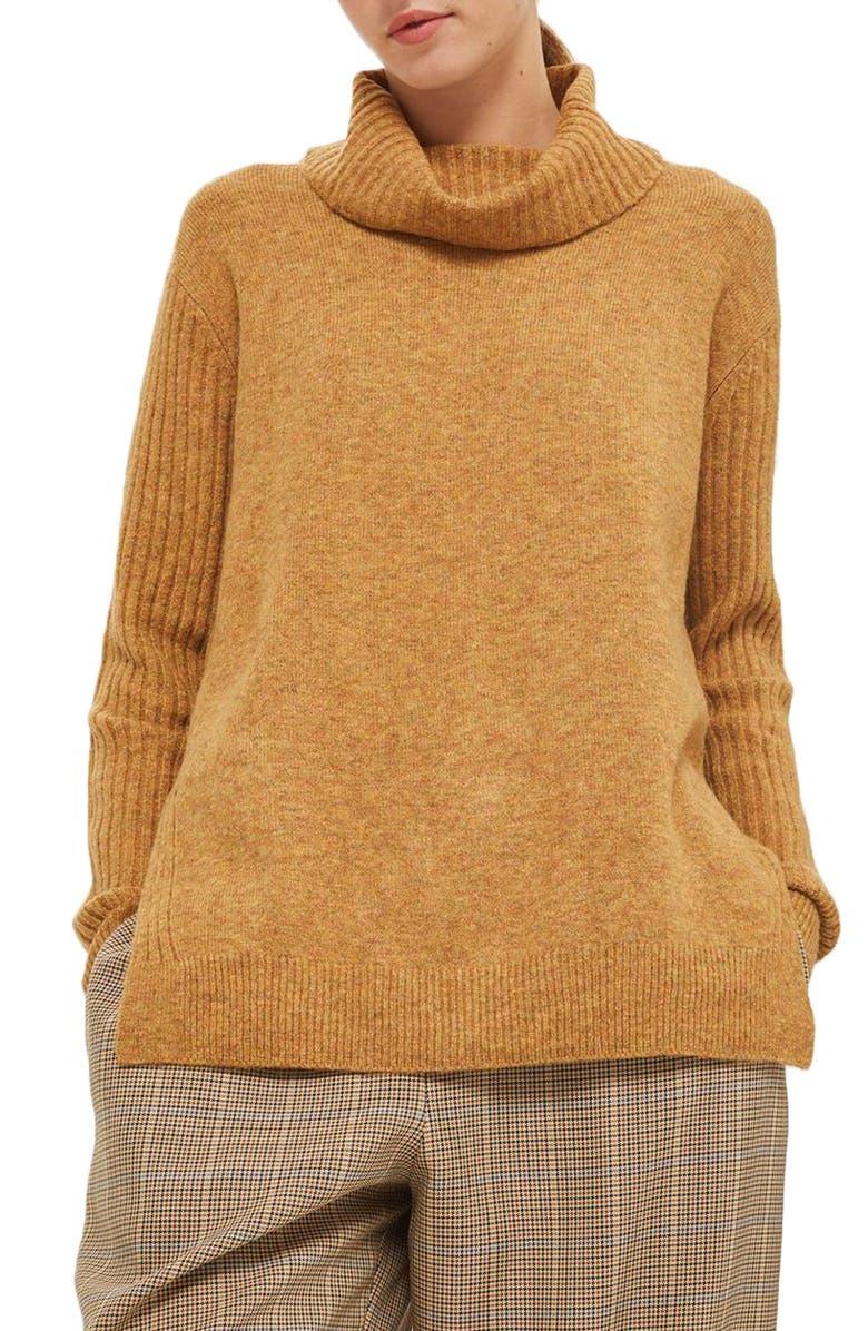 TOPSHOP Oversize Turtleneck Sweater, Main, color, 701