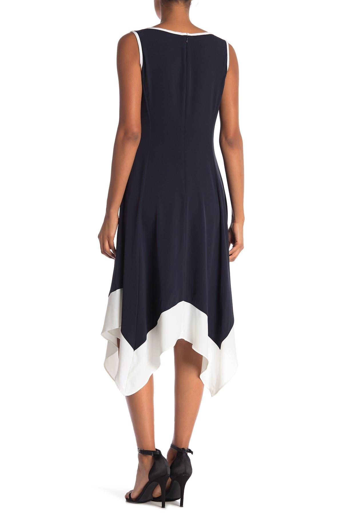 Image of Jones New York Sleeveless Handkerchief Hem Trimmed Dress