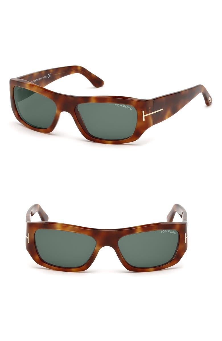 TOM FORD Rodrigo 56mm Sunglasses, Main, color, BLONDE HAVANA/ GREEN LENSES