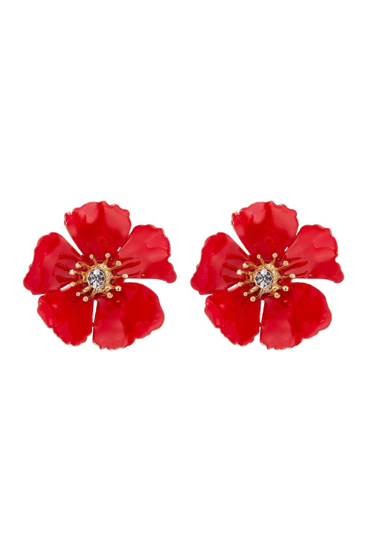 Image of Eye Candy Los Angeles Savannah Red Floral Earrings