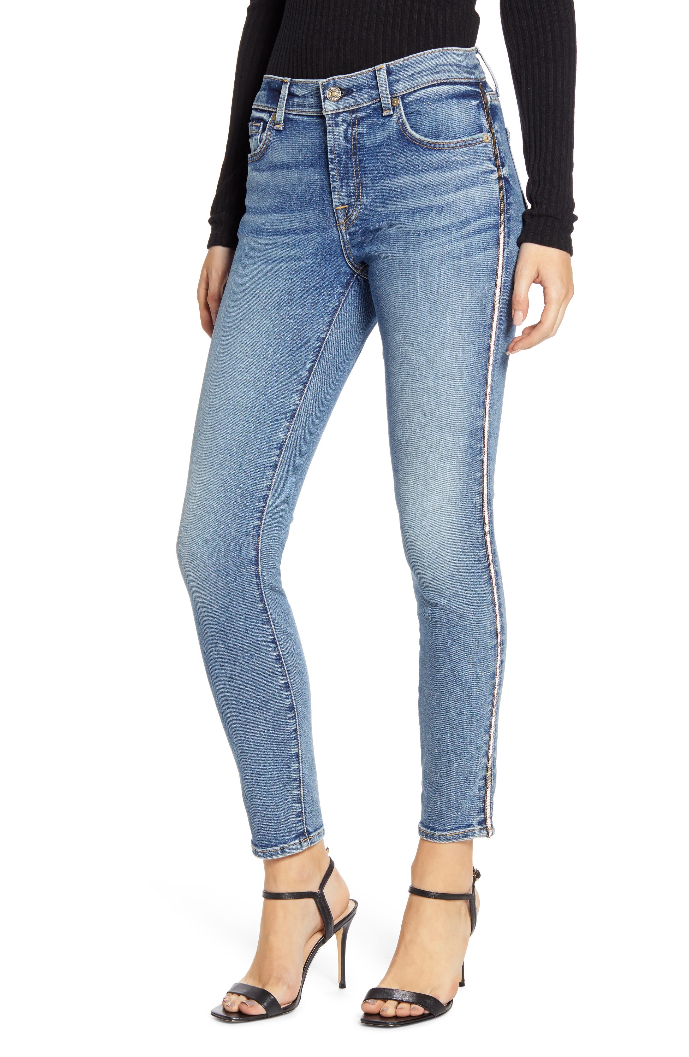 7 For All Mankind Metallic Chevron Sides Ankle Skinny Jeans Nordstrom Rack